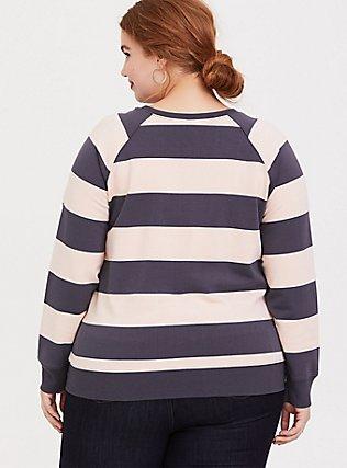 Plus Size Grey & Pink Striped Raglan Sweatshirt, MULTI STRIPE, alternate