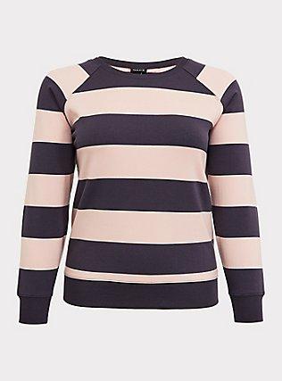 Plus Size Grey & Pink Striped Raglan Sweatshirt, MULTI STRIPE, flat