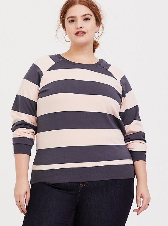 Grey & Pink Stripe Raglan Sweatshirt, , hi-res