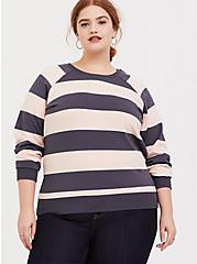 Grey & Pink Stripe Raglan Sweatshirt, MULTI STRIPE, hi-res