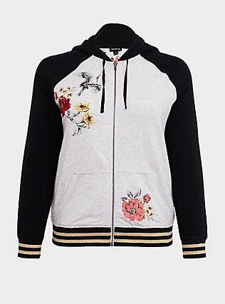 Light Grey Floral & Birds Embroidered Zip Hoodie, ANIMAL, flat