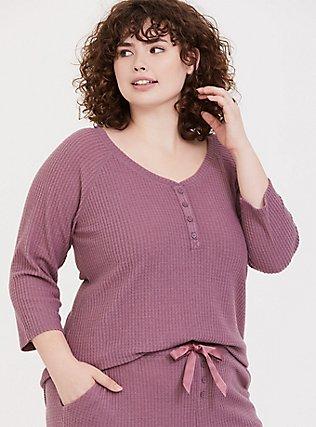 Mauve Purple Waffle Knit Henley Sleep Tee, PURPLE, hi-res