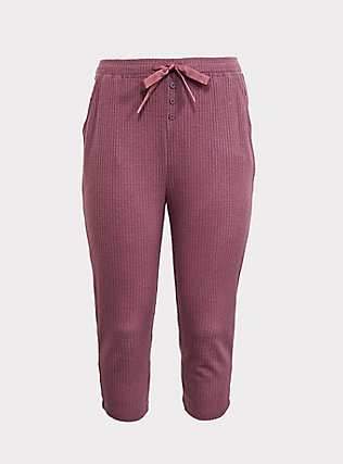 Mauve Purple Waffle Knit Crop Sleep Pant, PURPLE, flat