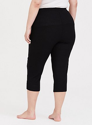 Black Waffle Knit Crop Sleep Pant, DEEP BLACK, alternate