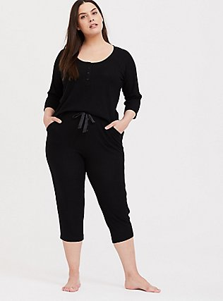 Black Waffle Knit Crop Sleep Pant, DEEP BLACK, hi-res