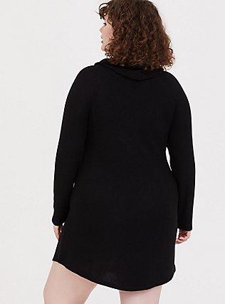 Plus Size Black Brushed Cowl Neck Sleep Tunic, DEEP BLACK, alternate