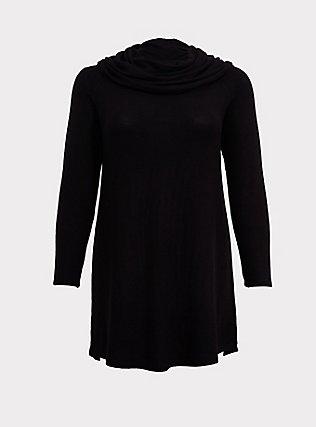 Plus Size Black Brushed Cowl Neck Sleep Tunic, DEEP BLACK, flat