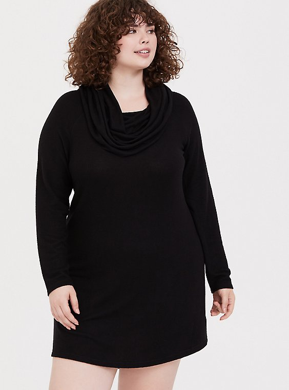 Black Brushed Cowl Neck Sleep Tunic, , hi-res