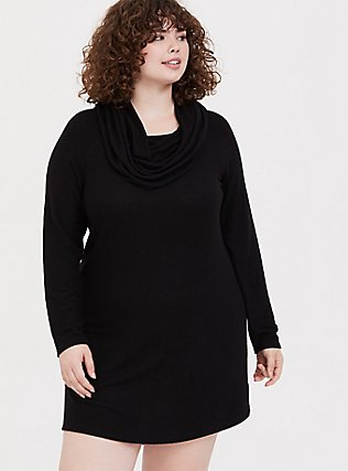 Plus Size Black Brushed Cowl Neck Sleep Tunic, DEEP BLACK, hi-res