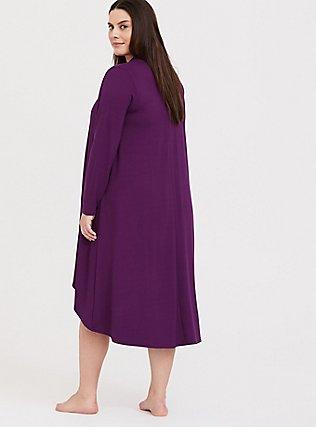 Purple Hi-Lo Sleep Cardigan, PURPLE, alternate