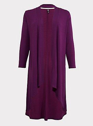 Purple Hi-Lo Sleep Cardigan, PURPLE, flat
