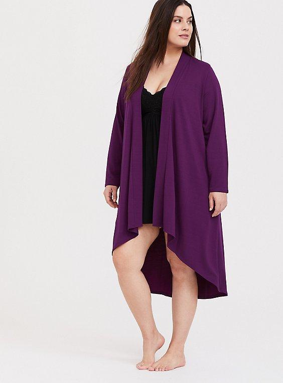 Purple Hi-Lo Sleep Cardigan, , hi-res