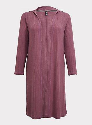 Mauve Purple Waffle Knit Longline Hooded Sleep Cardigan, PURPLE, flat