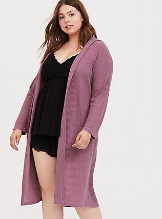 Mauve Purple Waffle Knit Longline Hooded Sleep Cardigan, PURPLE, hi-res