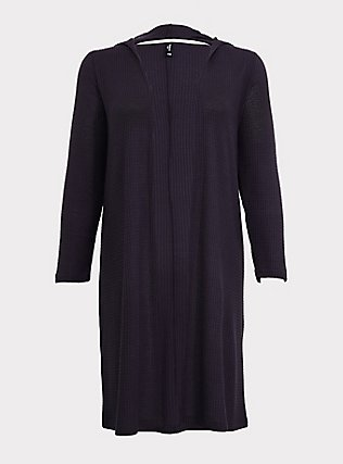 Dark Grey Waffle-Knit Longline Hooded Sleep Cardigan , GREY, flat
