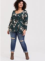 Dark Green Floral Challis Button Fit & Flare Top, MULTI, alternate