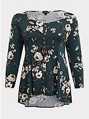 Dark Green Floral Challis Button Fit & Flare Top, MULTI, hi-res