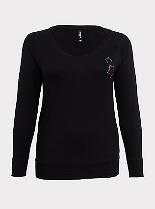 Plus Size Black Fleece Embroidered Star Long Sleeve Sleep Tee, DEEP BLACK, flat