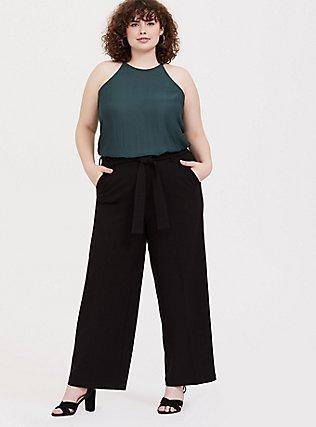Wide Leg Tie Front Structured Woven Pant - Black, DEEP BLACK, alternate
