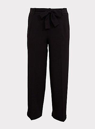 Wide Leg Tie Front Structured Woven Pant - Black, DEEP BLACK, flat