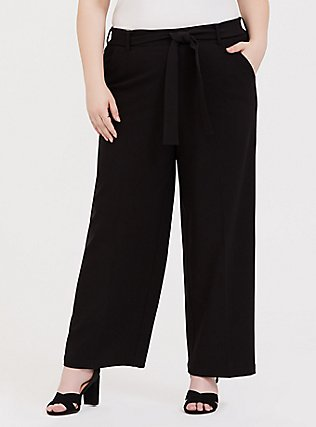 Wide Leg Tie Front Structured Woven Pant - Black, DEEP BLACK, hi-res