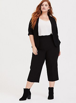 Black Structured Woven Wide Leg Crop Pant, DEEP BLACK, alternate