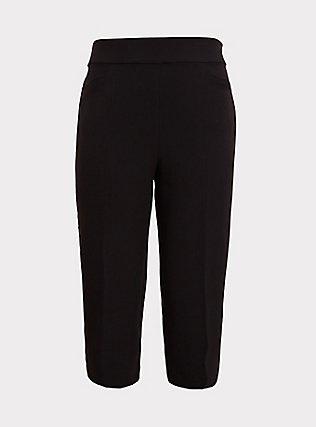 Black Structured Woven Wide Leg Crop Pant, DEEP BLACK, flat