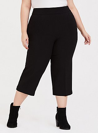 Black Structured Woven Wide Leg Crop Pant, DEEP BLACK, hi-res