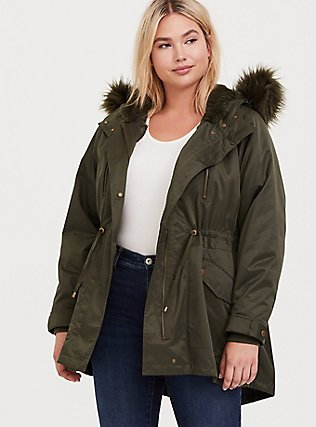 Plus Size Olive Green Twill Faux Fur Hooded Anorak, , hi-res