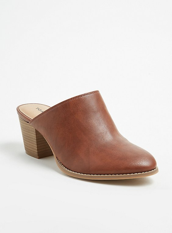 Cognac Faux Leather Mule Bootie (WW), , hi-res