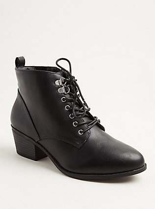 Plus Size Black Faux Leather Lace-Up Oxford Bootie (WW), BLACK, hi-res