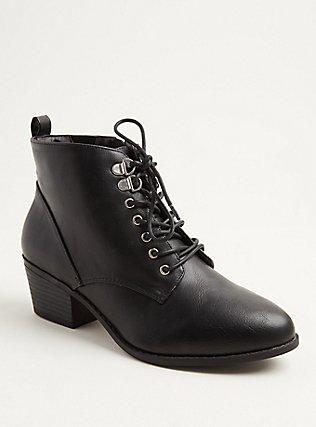 Black Faux Leather Lace-Up Oxford Bootie (WW), BLACK, ls