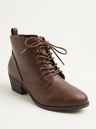 Plus Size Brown Faux Leather Oxford Bootie (WW), BROWN, hi-res