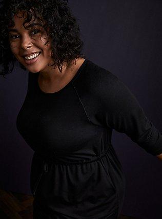 Plus Size Black Terry Drawstring Dress, DEEP BLACK, alternate