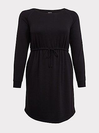 Black Terry Drawstring Dress, DEEP BLACK, flat