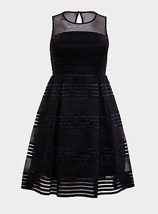 Black Illusion Neck Shadow Stripe Skater Dress, DEEP BLACK, flat