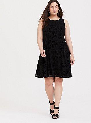 Black Mesh Flocked Leopard Trapeze Dress, DEEP BLACK, alternate