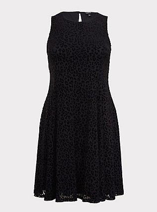 Black Mesh Flocked Leopard Trapeze Dress, DEEP BLACK, flat