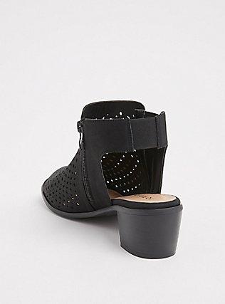 Black Faux Suede Perforated Block Heel (WW), BLACK, alternate