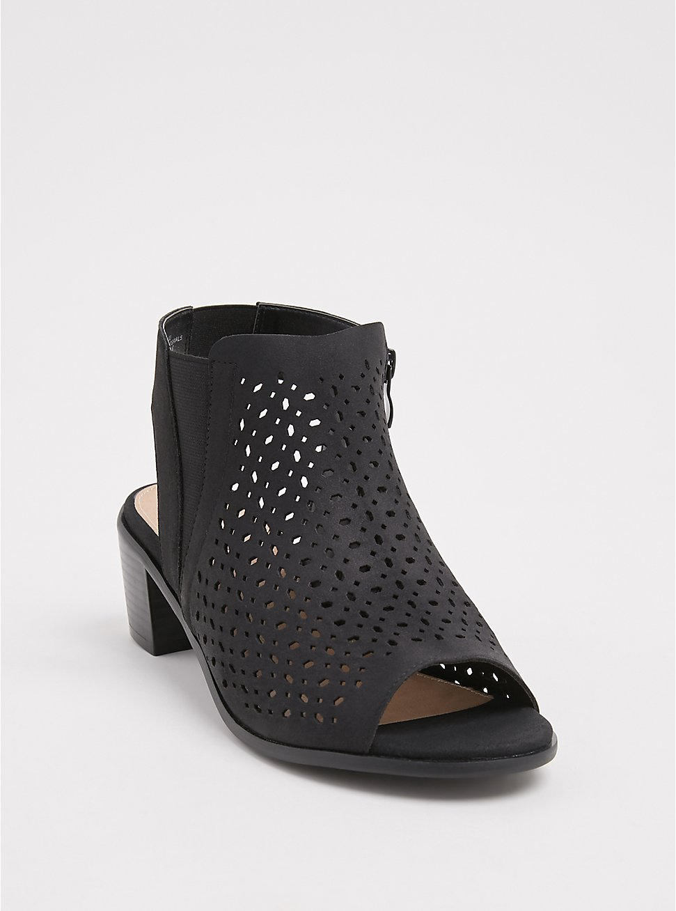 Black Faux Suede Perforated Block Heel (WW), BLACK, hi-res