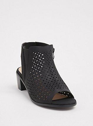 Black Faux Suede Perforated Block Heel (WW), BLACK, hi-res