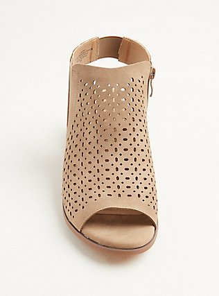 Taupe Brushed Faux Leather Perforated Block Heel (WW), TAN/BEIGE, alternate