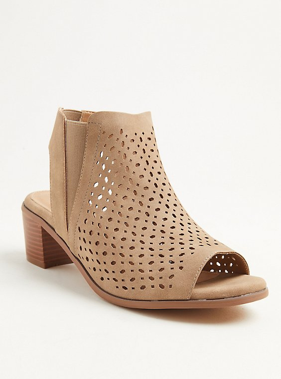 Plus Size Taupe Brushed Faux Leather Perforated Block Heel (WW), , hi-res