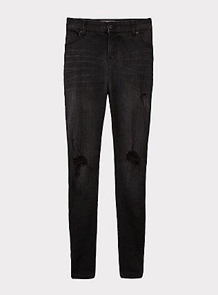 Plus Size Bombshell Skinny Jean - Premium Stretch Black Wash, COOL CAT, flat