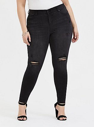 Bombshell Skinny Jean - Premium Stretch Black Wash, COOL CAT, hi-res