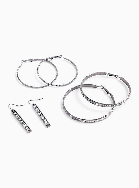 Glitter Hoop Earrings Set - Set of 3, , hi-res