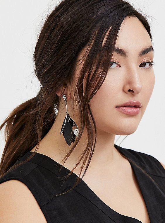 Silver-Tone & Black Petal Dangle Earrings, , hi-res