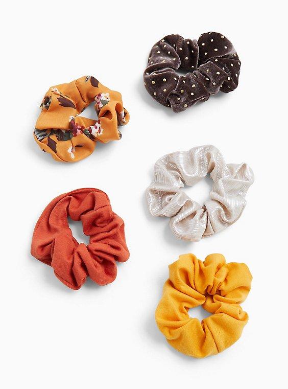 Plus Size Floral & Polka Dot Hair Tie Pack - Pack of 5, , hi-res