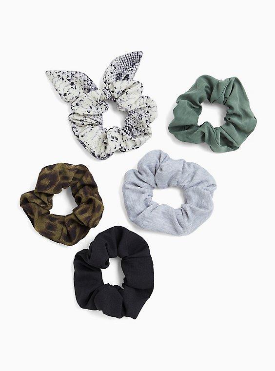 Plus Size Snakeskin Print Hair Tie Pack - Pack of 5, , hi-res