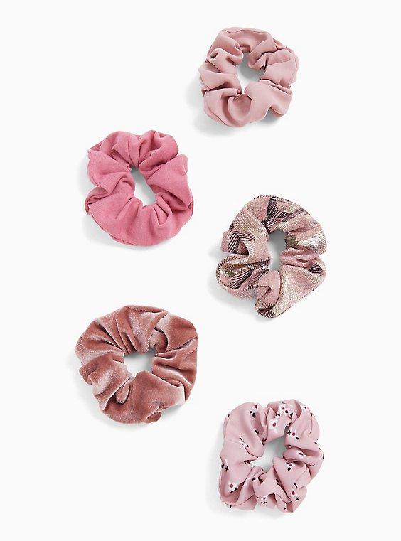 Plus Size Pink Velvet Hair Tie Pack - Pack of 5, , hi-res
